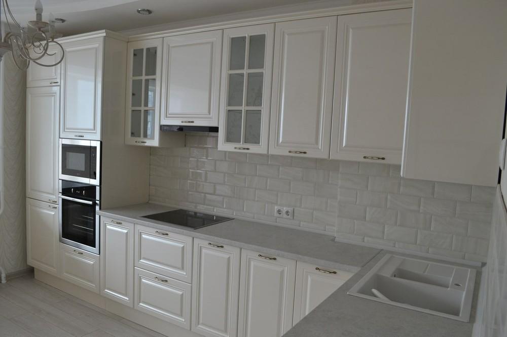 Белый кухонный гарнитур-Кухня МДФ в ПВХ «Модель 204»-фото2