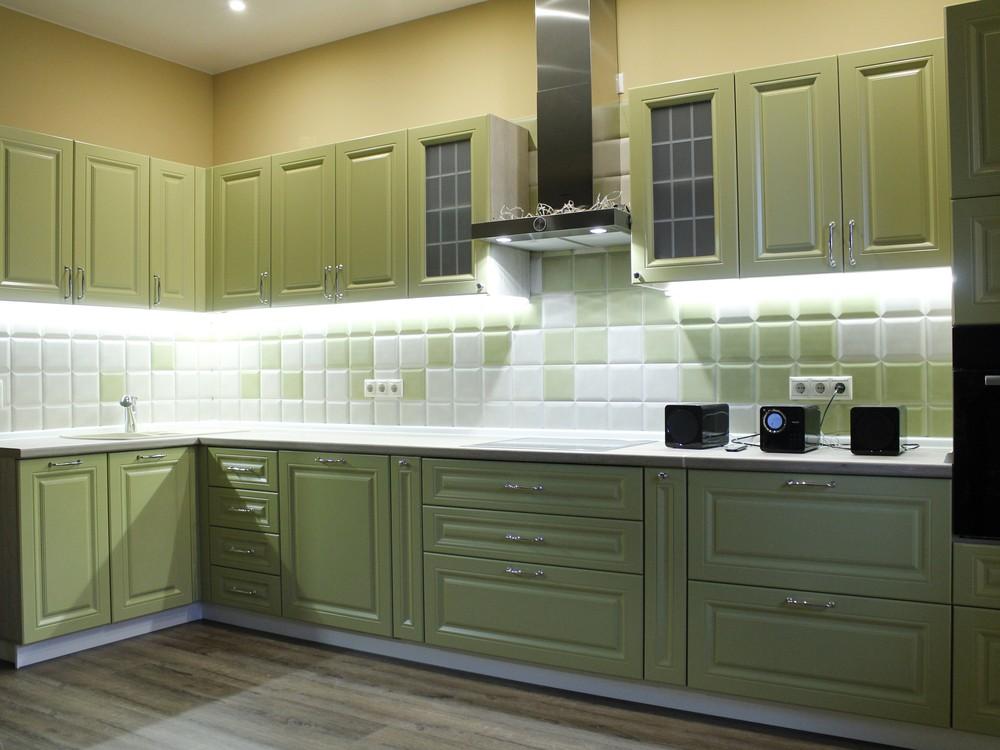Классические кухни-Кухня МДФ в ПВХ «Модель 91»-фото1