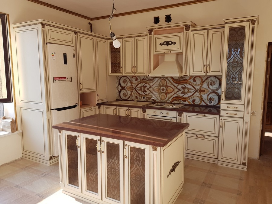 Белый кухонный гарнитур-Кухня МДФ в ПВХ «Модель 519»-фото1