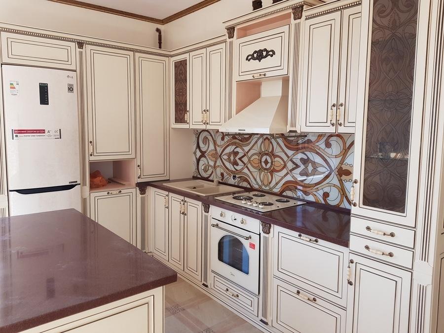 Белый кухонный гарнитур-Кухня МДФ в ПВХ «Модель 519»-фото2