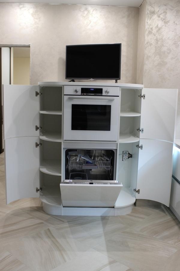 Белый кухонный гарнитур-Кухня МДФ в эмали «Модель 439»-фото3