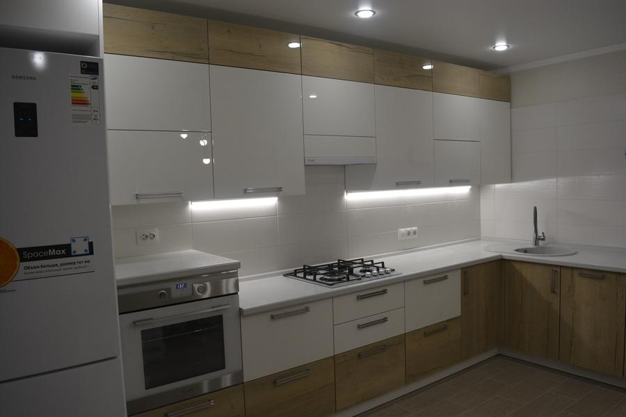 Белый кухонный гарнитур-Кухня из пластика «Модель 459»-фото3