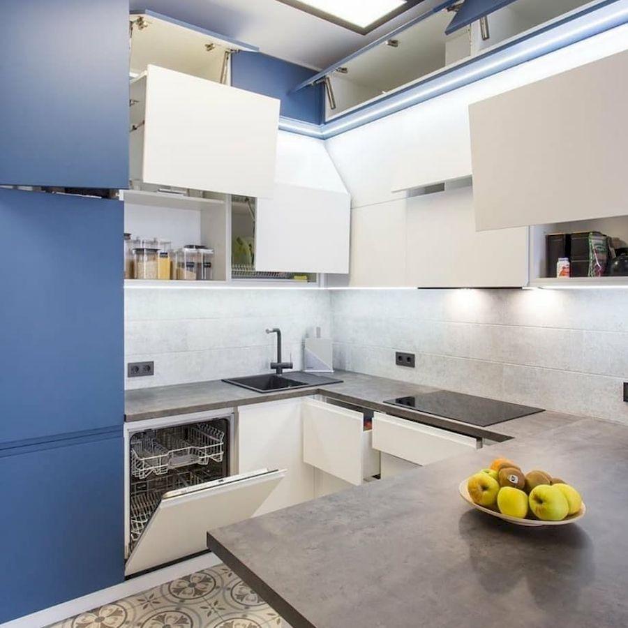 Белый кухонный гарнитур-Кухня МДФ в эмали «Модель 678»-фото5