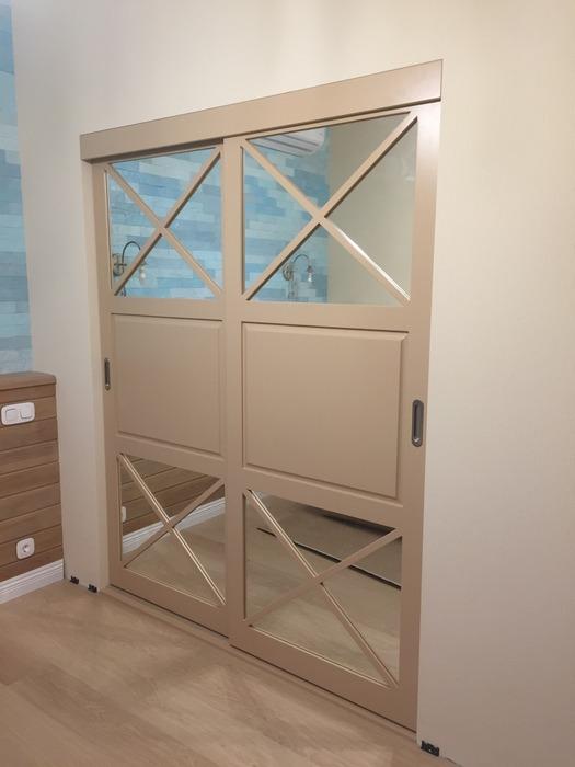 Встроенные шкафы-купе-Шкаф-купе с зеркалом «Модель 158»-фото1