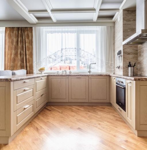 Бежевые кухни-Кухня из массива дуба «Модель 403»-фото6