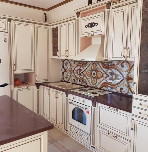 Белый кухонный гарнитур-Кухня МДФ в ПВХ «Модель 519»-фото3